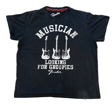 FENDER Collection Black T-Shirt 'Musician Looking For Groupies' Mens UK XXl Worn