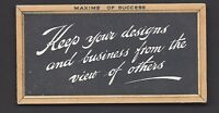 SINGLETON & COLE - MAXIMS OF SUCCESS (ORANGE) - KEEP YOUR DESIGNS AND BUSINESS