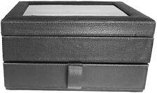 Original FOSSIL Watch Box UhrenKasten Schmuckschatulle leder Schwarz Neu(5p)