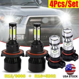 H13 LED Headlight Hi-Lo Beam+5202 Fog Bulb For GMC Yukon XL 1500 2007-2014 SH