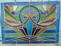 STAINED GLASS LEADED COLORED PANELS VINTAGE ART DECO ARCHITECTURAL SALVAGE OLD#2