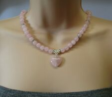Rose Quartz Puffy Love Heart & Sparkly Crystal Beaded Necklace - Stunning!