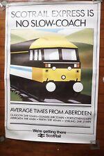 1985 Scotrail Express Aberdeen Scotland Original Railway Quad Poster