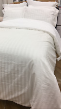 New FRETTE Sophia Collection 100%Cotton Tuxedo Stripe Queen Duvet Cover 2 Shams