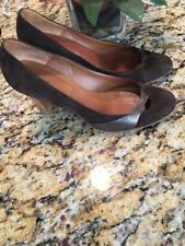 "MARC JACOBS Suede 3"" High Heels Sandals Brown Leather Size 6.5"""