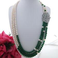 "FC113001 30""-33"" White Pearl Green Jade Necklace CZ Pendant"