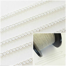 MS Jewellery DIY Making 1Ft Sterling Silver Continuous Curb Chain For 3mmX2.5mm
