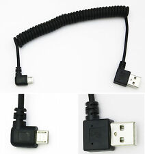 coiled micro USB cable spring data sync charging 5 pin angled left angle male
