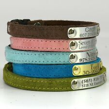 Personalized Suede Cat Collar Breakaway Buckle Laser Engraved Name Custom Plate