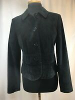 ANN TAYLOR LOFT Black Genuine Leather Suede Womens Blazer Jacket 4 Button Size 6