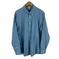 Brooks Brothers Mens Button Up Shirt Size XL Blue Check Long Sleeve Collared