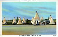 Horse Cave KY Wigwam Village No. 1 Motel Roadside Gas Pumps 1940s Linen Postcard