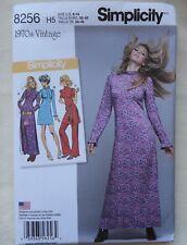 Simplicity 8256 - Misses' 70's Dress in 2 Lengths - Sizes 6 8 10 12 14 - UNCUT