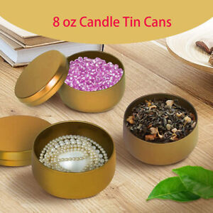 Candle Jars Candle Box Tinplate Can Wood Grain Lids Containers Tins Storage  MW