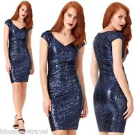 Goddiva Navy Lined Sequin Cocktail Party Evening Dress Prom Bridesmaid RRP £65