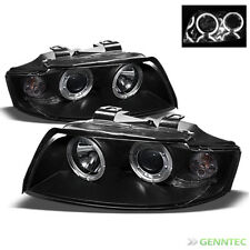 For 2002-2005 Audi A4 S4 Twin Halo Projector Black Headlights Head Lights Pair