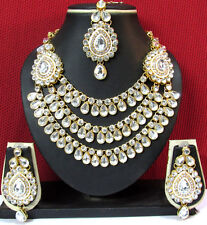 KUNDAN Exclusive Design ZX STONE GOLD PLATED NECKLACE & EARRING WITH MAANG TIKKA