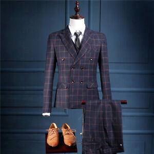 Mode Männer Blau Plaid Herren Anzüge Gestreift Smoking Anzüge Hochzeitsanzug
