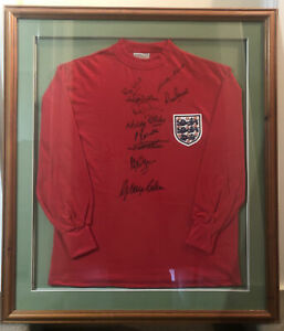 England 1966 Final Shirt. Signed By 10. Framed,Mounted+Bobby Moore Signed Book