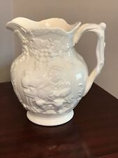 Vintage SPODE White Ceramic Pitcher - Old English Tavern Scene