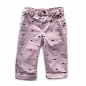 Carters Baby Boys Pink Dinosaur Print Stretch Waist Snap Chino Pants 6 Months