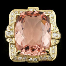 Certified 16.80cttw Morganite 1.02cttw Diamond 14KT Yellow Gold Ring