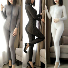 2-Way Zipper Sheer See through Bodysuit Smooth Elastic Jumpsuit Striped Catsuit