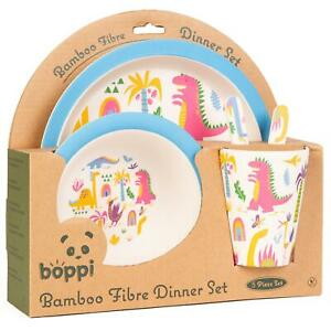boppi Bamboo Kids Childrens Baby Dinner Set Plate Cup Bowl Cutlery DINOSAURS NEW