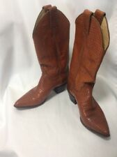 JUSTIN COWBOY BOOTS WOMENS BROWN SIZE 5 BASKET WEAVE POINTED TOE WESTERN FUN!