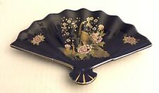 Blue Porcelain Fan Shaped Ashtray Plate Dish Floral Vintage marked Kyoto Japan