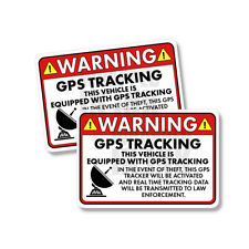 """Vehicle GPS Tracking Warning Law Enforcement Funny Sticker Decal 2 PACK 5"""""""