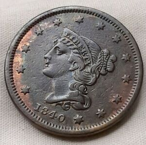 1840 Large One Cent 1c Penny Small Date Low Mint Mintage Key Coin Hard to Find