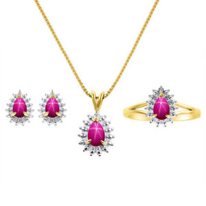 Diamond & Star Ruby Matching Earrings, Pendant Necklace and Ring Set In Yellow
