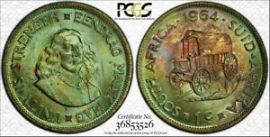 1964 SOUTH AFRICA 1 CENT PCGS MS64 COLOR TONED COIN ONLY 10 GRADED HIGHER
