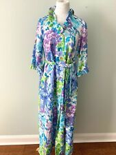 Unbranded 60's Vintage House Coat Robe Small Ruffled Violet Floral or Medium