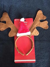 **  NOVELTY REINDEER ANTLERS WITH SANTA HAT NEW** CHRISTMAS HEAD BAND SOFT