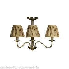 Classico LAMPADARIO ORO CON TESSUTO ORO Shade, 3 bracci Luce Da Soffitto Tonalità Oro