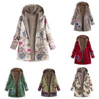 Lined Hooded Coat Winter Fleece Women Floral Warm Outwear Jacket Parka