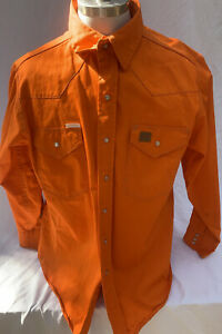 Rasco Noburn 7.5 OZ Orange Fire Retardant Western Shirt Xl Long Pearl Snaps
