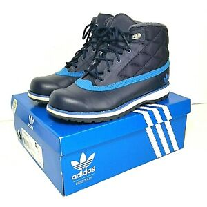 Adidas Originals Adi Navvy quilted boots navy kids size 6 faux fur lined