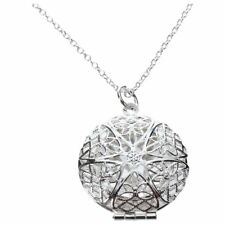 Womens Silver Hollow Flower Photo Frame Charms Pendant Chain Necklace Jewelry L1