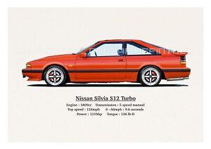 NISSAN SILVIA S12 TURBO ART PRINT. CLASSIC. RETRO. LIMITED EDITION (40).