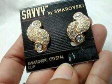 Stunning NWOT  vintage swan signed Savy by swarovski crystal  clip on earrings