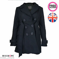 NEW BLACK BUTTON FRONT WOOL BLEND COAT LADIES WOMENS WINTER JACKET SIZE 8 10 UK