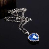 Heart of The Ocean Sapphire Pendant Necklaces, Romantic Titanic Jewelry Gift New