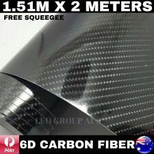 1.51M X 2M 6D BLACK SUPER ULTRA GLOSS CARBON FIBRE FIBER VINYL CAR WRAP FILM 4D