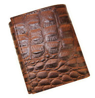 Brown Cowhide Leather Mens Trifold Wallet Croco Croc Print Credit Card ID Window