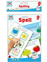 20 Wipe Clean Educational Learning Worksheets with Pen Kids Writing Spelling
