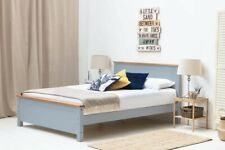 Modern Wooden Grey Bed Frame Oak Trim Double / King Size
