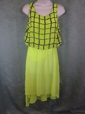Paradis Miss Dress Size Small Fluorescent Green Sheer Blouson Asymmetric Hem NWT